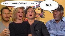 "Interview zu ""The LEGO Movie"" mit Chris Pratt, Elizabeth Banks, Morgan Freeman, Will Arnett, Chris Miller und Phil Lord"