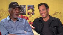 "Interview zu ""The LEGO Movie"" mit Morgan Freeman, Will Arnett, Phil Lord und Chris Miller"