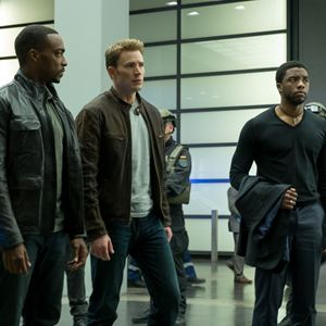 The First Avenger: Civil War : Bild Anthony Mackie, Chadwick Boseman, Chris Evans