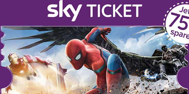 """2 Monate Sky Cinema Ticket für einmalig 7,99 Euro – mit """"Spider-Man: Homecoming"""" und weiteren Blockbustern"""