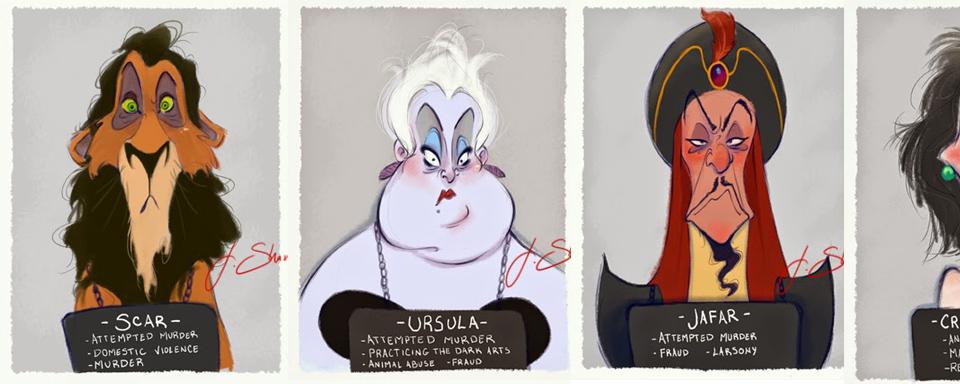 So würden die Verbrecher-Bilder der Disney-Bösewichte aussehen ...