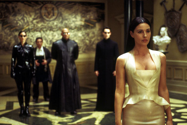 Matrix Reloaded : Bild Carrie-Anne Moss, Keanu Reeves, Laurence Fishburne, Monica Bellucci, Randall Duk Kim