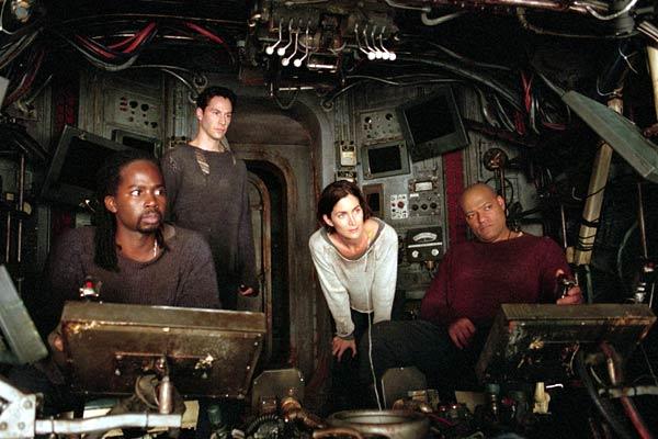 Matrix Reloaded : Bild Carrie-Anne Moss, Harold Perrineau, Keanu Reeves, Laurence Fishburne