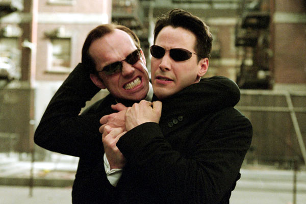 Matrix Reloaded : Bild Hugo Weaving, Keanu Reeves