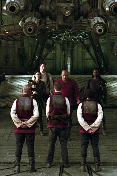 Matrix Reloaded : Bild Carrie-Anne Moss, Harold Perrineau, Keanu Reeves, Laurence Fishburne