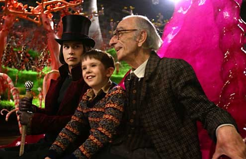 Charlie und die Schokoladenfabrik : Bild Freddie Highmore, Johnny Depp