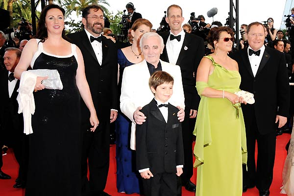 Oben : Bild Bob Peterson, Charles Aznavour, Pete Docter, Tom Trouffier