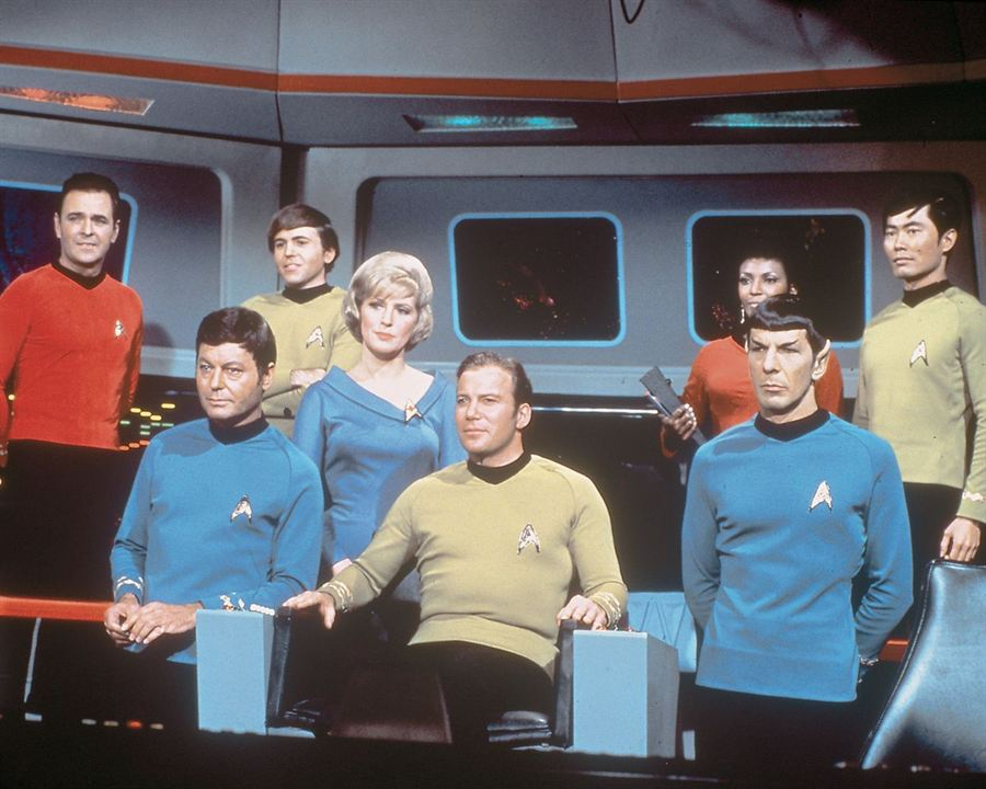 Raumschiff Enterprise : Bild DeForest Kelley, George Takei, James Doohan, Leonard Nimoy, Majel Barrett