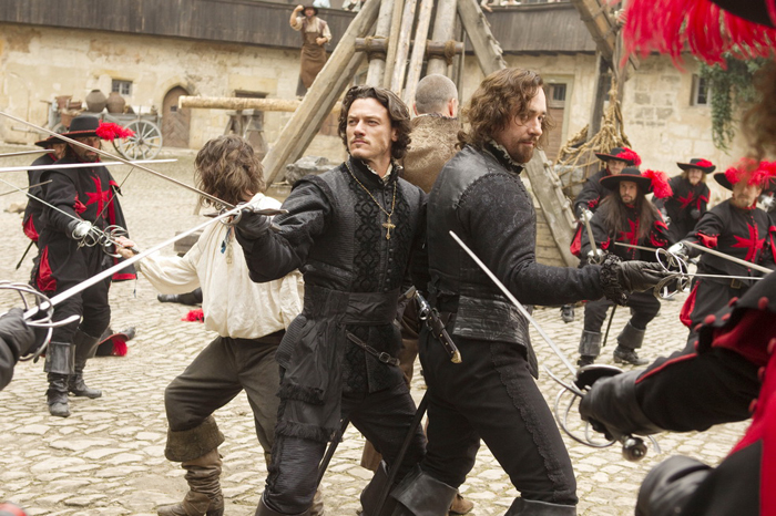 Die drei Musketiere : Bild Logan Lerman, Luke Evans, Matthew Macfadyen, Ray Stevenson