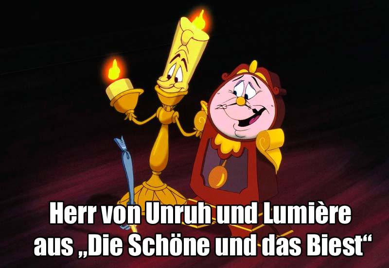 """Herr von Unruh und Lumière aus """"Die Schöne und das Biest"""""""