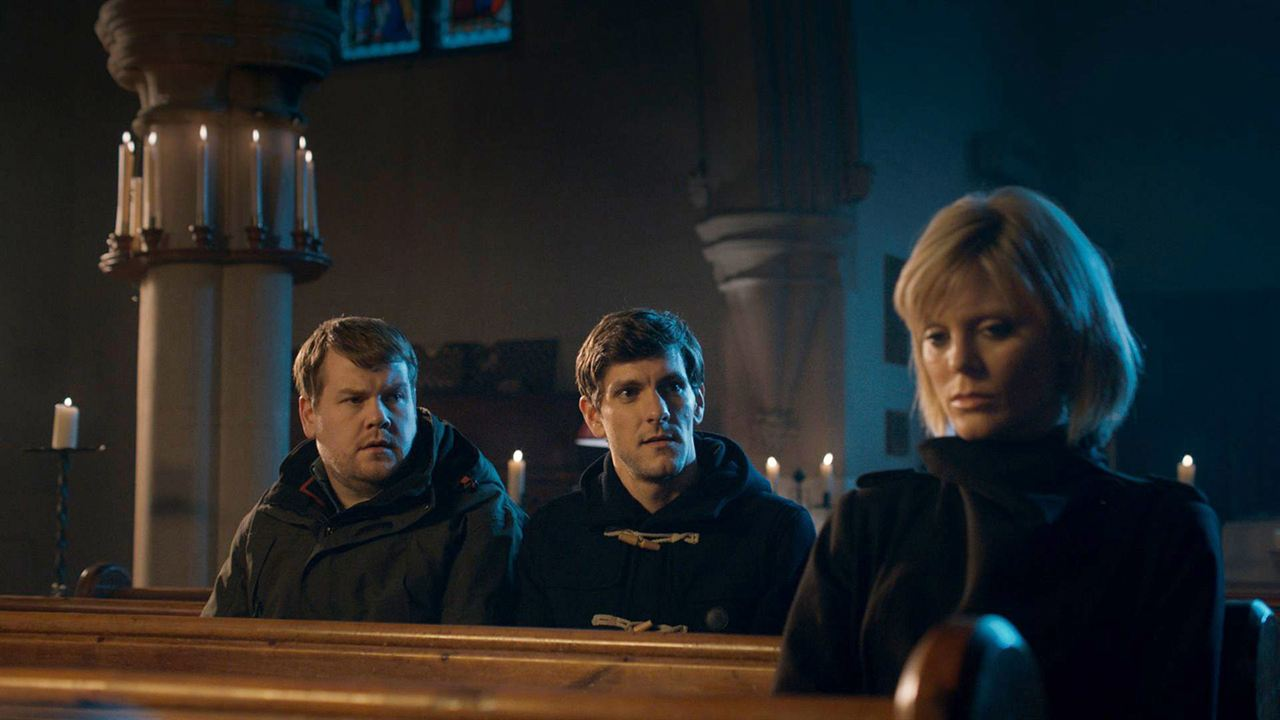 Bild Emilia Fox, James Corden, Mathew Baynton