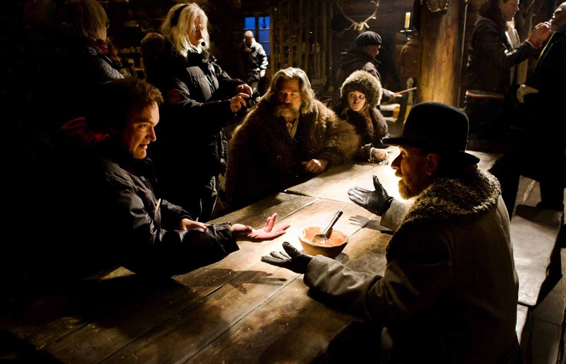 The Hateful 8 : Bild Jennifer Jason Leigh, Kurt Russell, Quentin Tarantino, Tim Roth