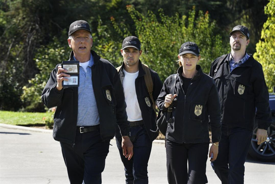 Bild Emily Wickersham, Mark Harmon, Sean Murray, Wilmer Valderrama