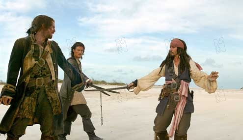 Pirates of the Caribbean - Fluch der Karibik 2 : Bild Jack Davenport, Johnny Depp, Orlando Bloom