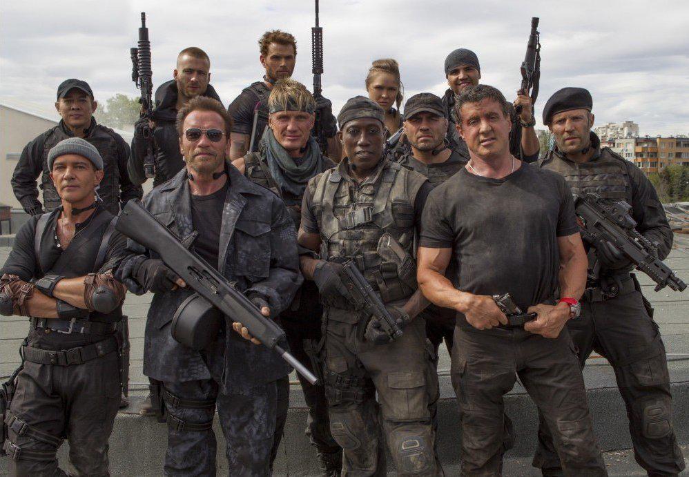 The Expendables 3 : Bild Antonio Banderas, Arnold Schwarzenegger, Dolph Lundgren, Glen Powell, Jason Statham